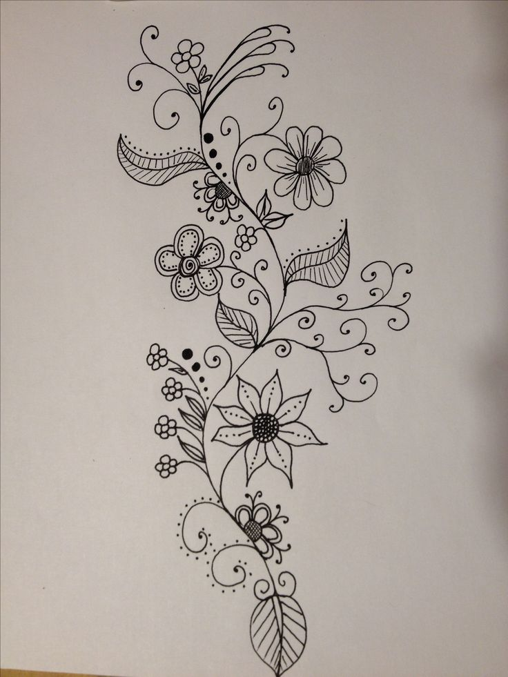 Flower Vine Line Drawing : Best doodle flowers ideas on pinterest leaves