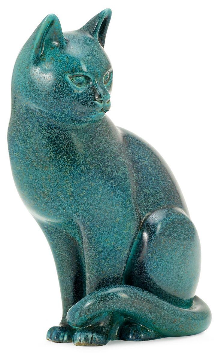Гуннар Нуланд кот, Рёрстранд. Керамические. Глазурь в зеленый и синий. Подписано R Швеция GN 48/100. Высота 27,5 см плюс деревянная основа. 222-277 EUR