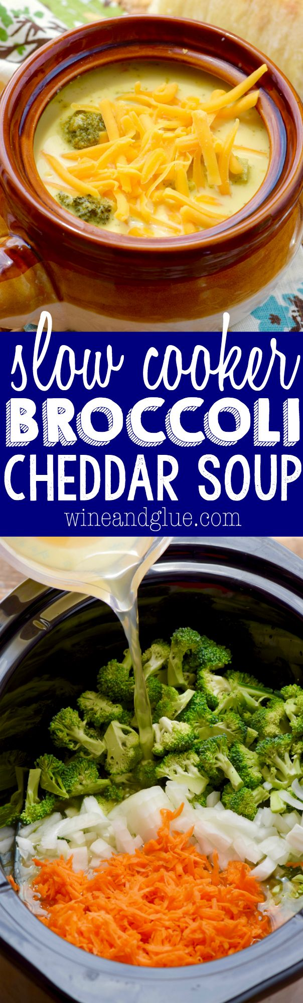 This Slow Cooker Broccoli Cheddar Soup is beyond simple, but so delicious! It definitely needs to be part of your dinner rotation!: