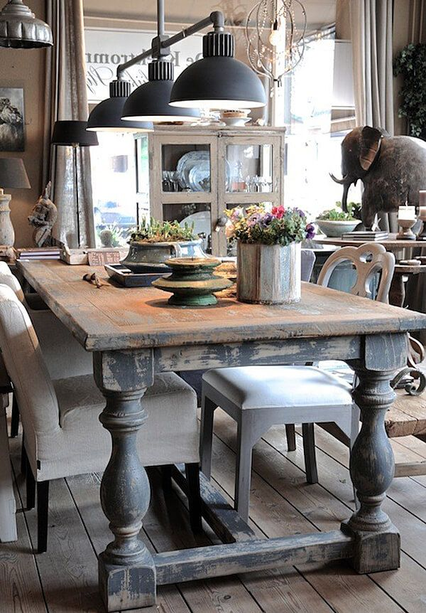 25 Calmness Dining Room With Farmhouse Style And Vintage Materials | Home Design And Interior