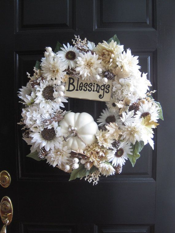 White Fall Wreath Low Profile Wreath White Pumpkin Wreath