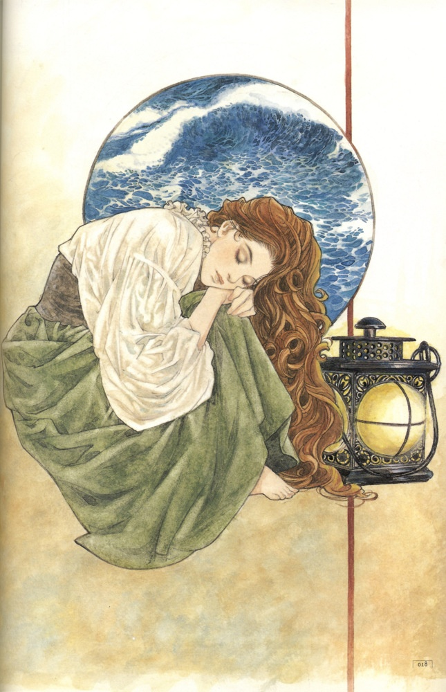 Art of woman & lantern by manga artist Natsuki Sumeragi.