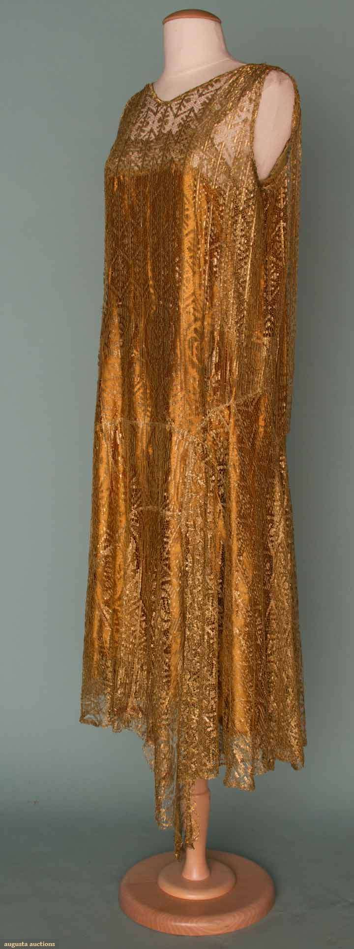 GOLD LACE PARTY DRESS, 1920s  All-over gold lace w/ copper rayon charmeuse underslip