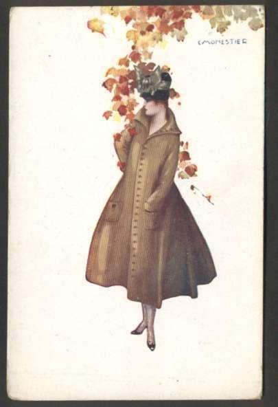 Art Monestier Elegant Woman w Coat & Flowers Postcard L@@K