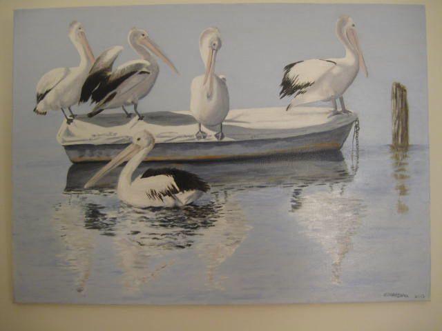 Oil painting Pelicans at Altona