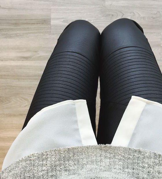 #street #style / leather pants + white chiffon shirt + taupe sweater