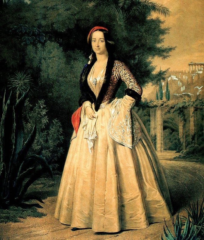 Queen Amalia in her garden, c. 1855. Lithograph by Franz Hanfstaengl, based on the oil painting by Ernst Rietschel. National Historical Museum, Athens.