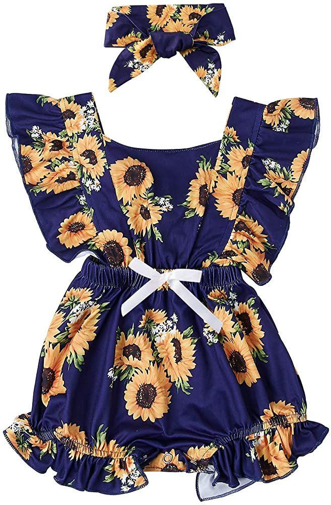 UK Newborn Baby Girls Sunflower Strap Romper Bodysuit Jumpsuit Outfits Clothes