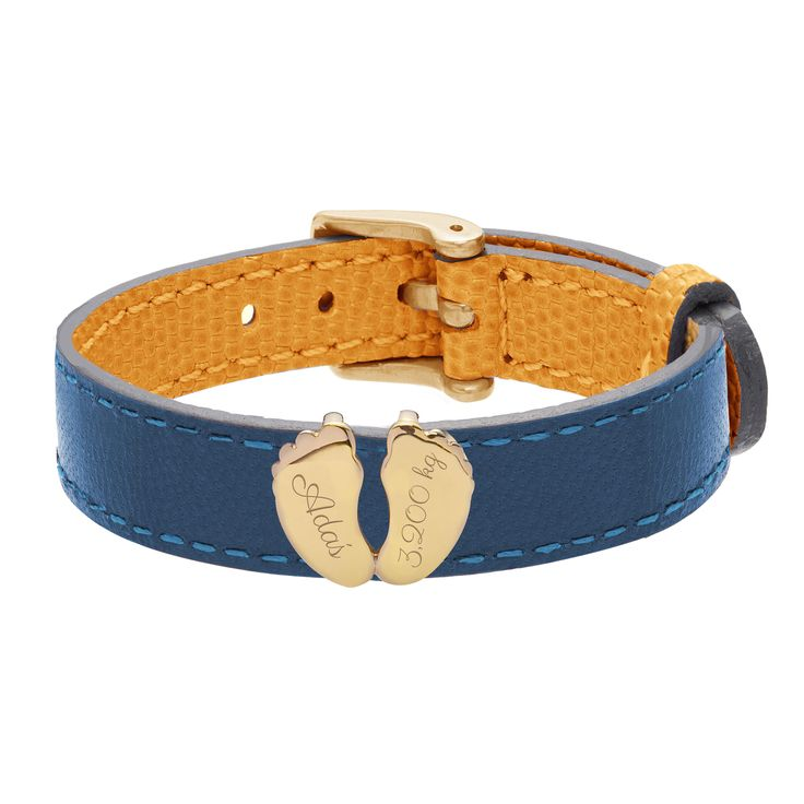 The Baby feet jewel for leather bracelet by Lilou? Choose your engraving! #lilou #bracelet #leather #baby #feet #engraving