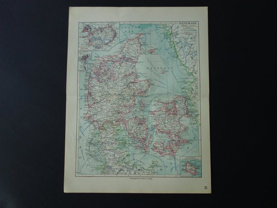 Original 100 year old map of Denmark  1913 by VintageOldMaps