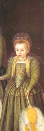 Earliest known picture of Elizabeth I, probably around age 4 or 5. She was only 2 when her mother was executed.  ... sbf: I do not trust this comment.  The clothes do not match the purpored identity and/or dates for HRM.