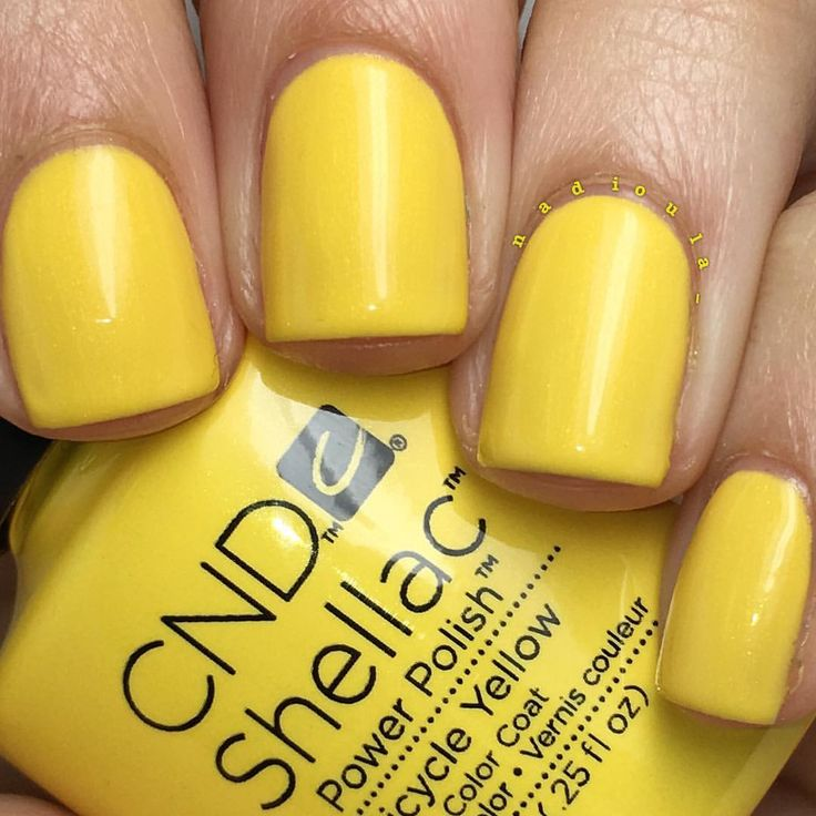 "Nadia on Instagram: ""@cndworld Shellac Bicycle Yellow. I used CND Base Coat, 3 coats of Shellac Bicycle Yellow, and topped off with CND Shellac Xpress5 Top Coat. Cured in the CND LED Lamp."""