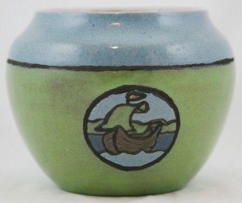 "Saturday Evening Girls SEG 4 5"" Vase w SHIP Seascape by Albina Mangini 1920 Mint"