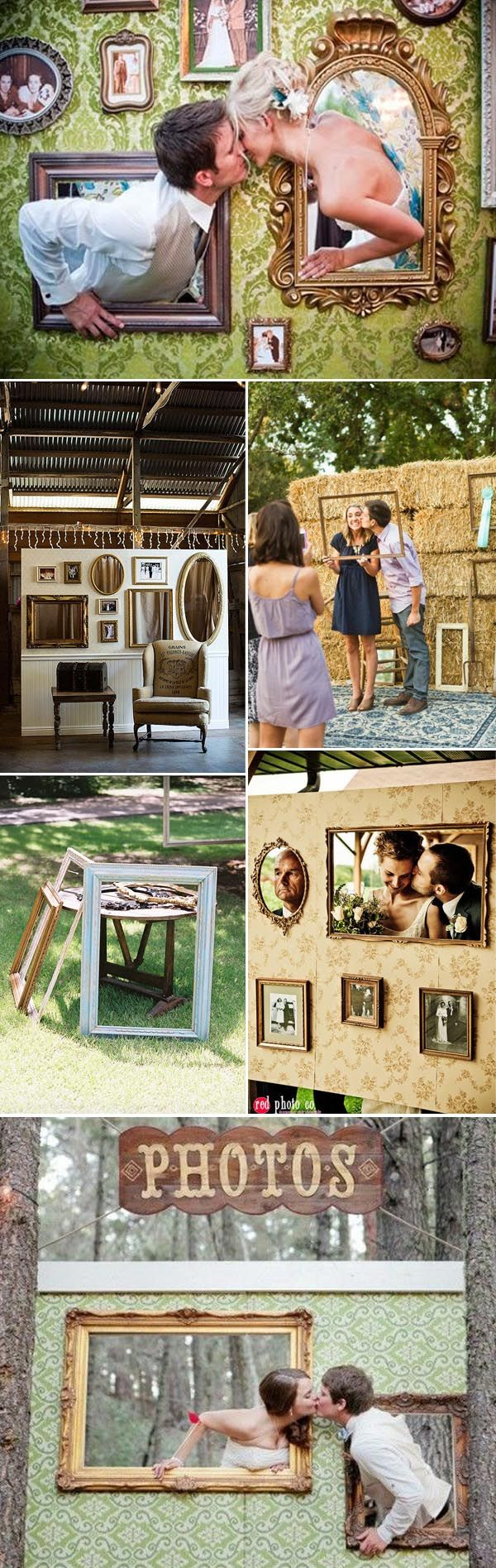 Creative fun wedding photo booth ideas made of picture frames. See more vintage wedding photo frame ideas here: http://blog.stylishwedd.com/39-creative-vintage-wedding-ideas-with-photo-frame-s/