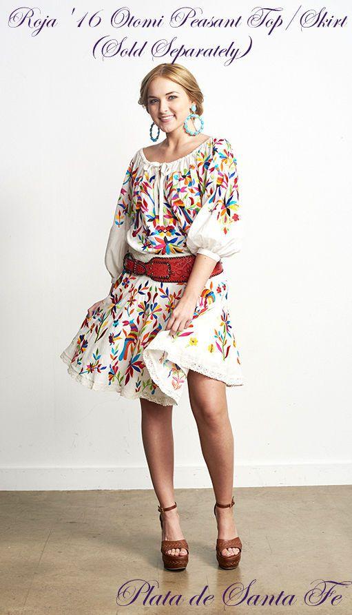 "ROJA '16 The Colorful Embroidered Mexican ""OTOMI""  Above Knee Skirt   #Roja #FolkArtEmbrioderedAbovetheKneeSkirt"