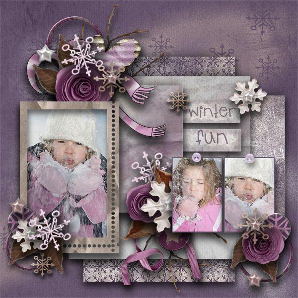 "Pretty lavender/purple ""Winter Fun"" scrapbook page layout"