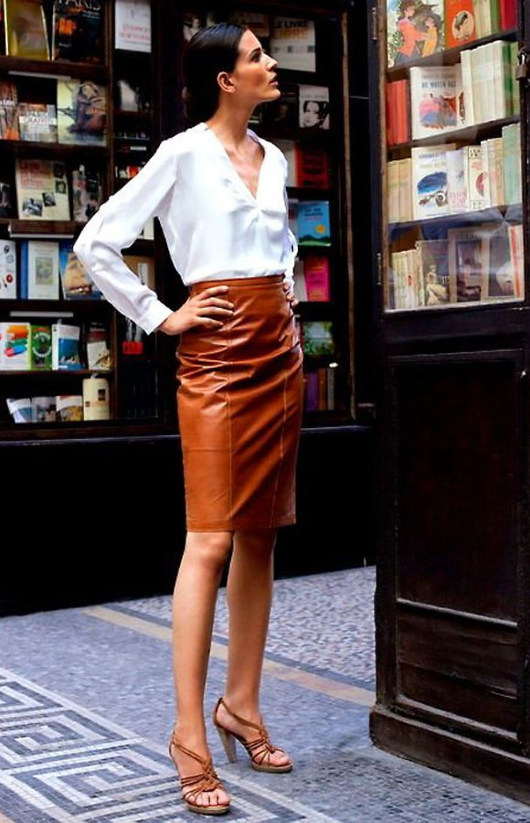 Brown #leather skirt. size 6