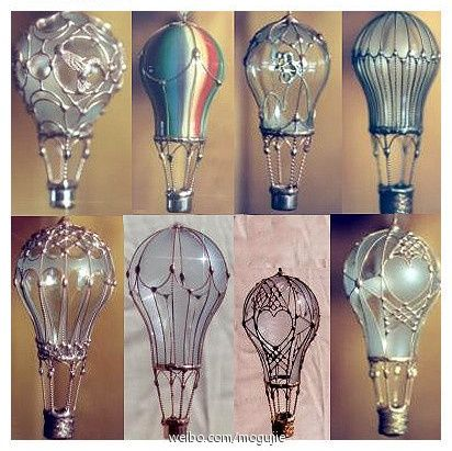 Handmade DIY balloon old light bulb light bulb DIY hot air balloon. This has some difficulties the main ...