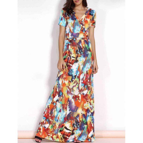 Elegant V-Neck Short Sleeve Multicolored Print Plus Size Maxi Dress For Women