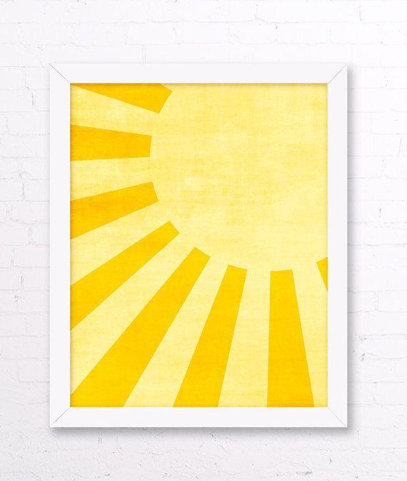 Sunshine Art Print - Yellow Kids Room, Sun Wall Art, Yellow Home Decor, Sunshine Nursery Wall Art