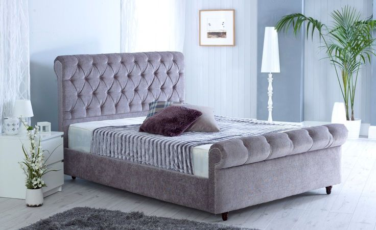 Sleigh Chesterfield CHENILLE Full Bed Headboard Upholstered Sleigh Tufted frame. Dimensions of 3FT Bed Frame Dimensions of 4FT Bed Frame All our beds are made of Fire Retardant (FR) Material and follows all UK regulations. | eBay!