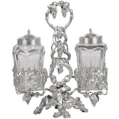 Russian Silver and Cut-Glass Condiment Set- John Atzbach Antiques, an exhibitor at the New York Art, Antique & Jewelry Show. #NYFallShow