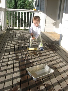 Painting the house or fence with water - my kids loved to do this when they were younger!