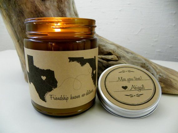 Friendship Knows No Distance. 9 oz Hand Poured Soy Candle. Completely Handmade in Astoria, Oregon. Comes ready to gift in a lovely gift box. Perfect Holiday Gift or Anytime Gift! After ordering, pleas