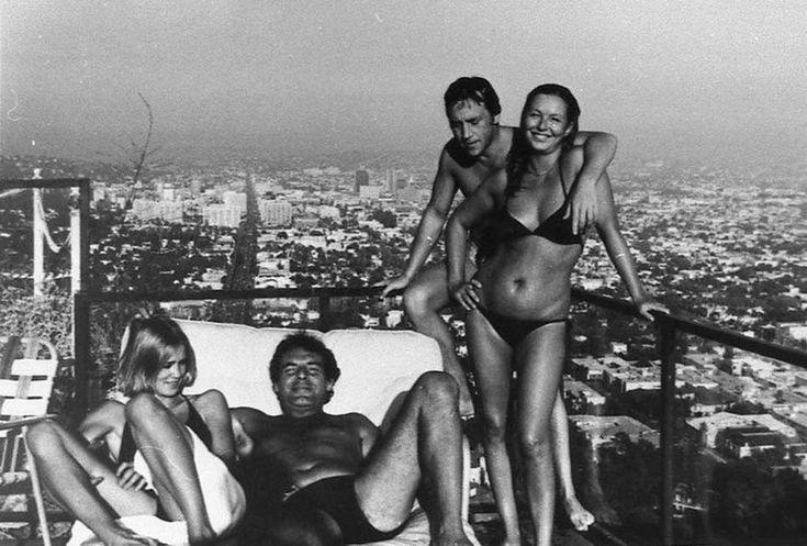 Jessica Lange, Milos Forman, Vladimir Vysotsky and Marina Vlady in Los Angeles, 1976.