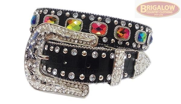 Brigalow Western Bling Belt | Rhinestones & Leather | Rectangle Conchos, Studs and Rhinestones - 3 Styles! | Ladies Belts | Ladies | Brigalow Country Clothing
