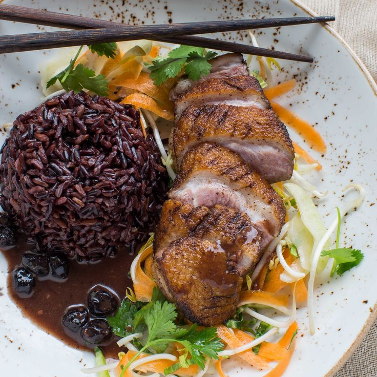 My Food Bag - Nadia Lim - Recipes - Crispy Duck, Forbidden Rice, Asian Slaw and Chinese Blueberry Sauce