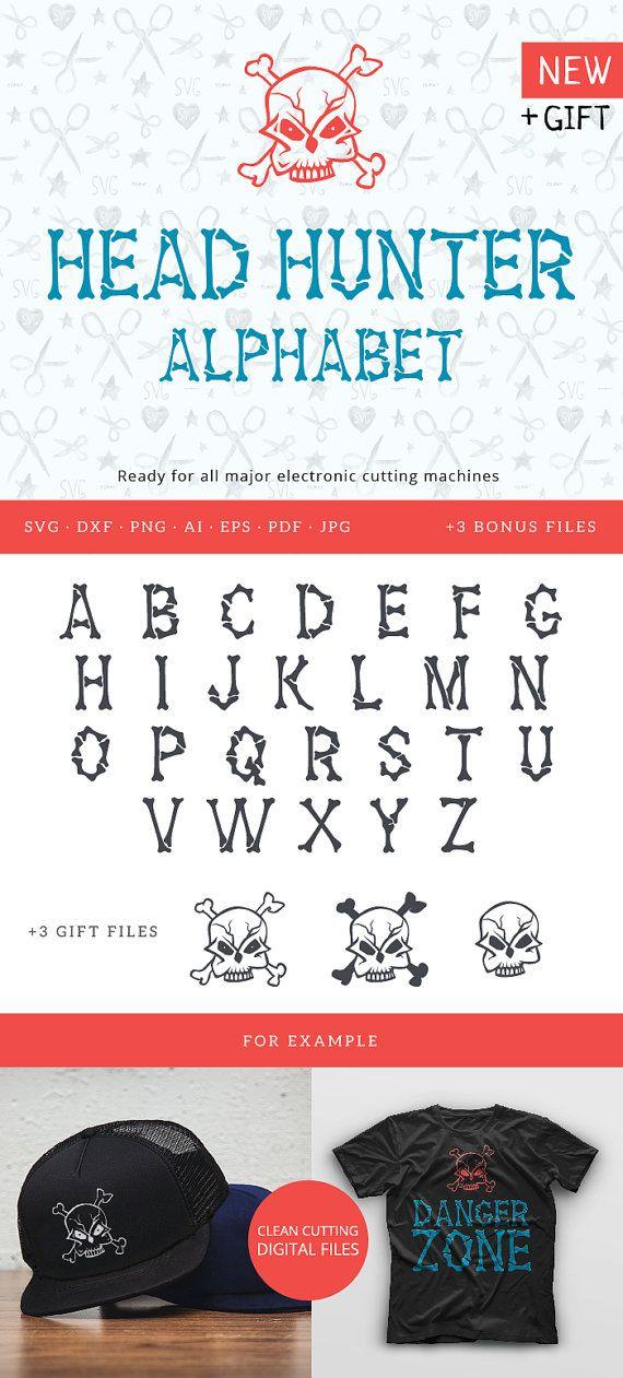 Halloween Bones HeadHunter Font SVG Cuttable svg dxf png pdf eps jpeg ai for Silhouette Studio Cricut Vinyl Cutter Heat Press Transfer