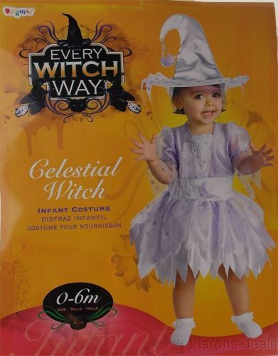 Every Witch Way Celestial Infant Girl Costume 0-6M Disguise Dress Hat Halloween