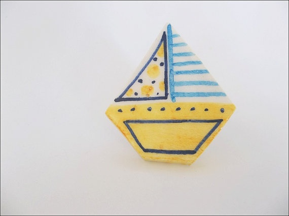 Yellow-turquoise ceramic sailing boat ring by IoannasVeryCHic, 14.00