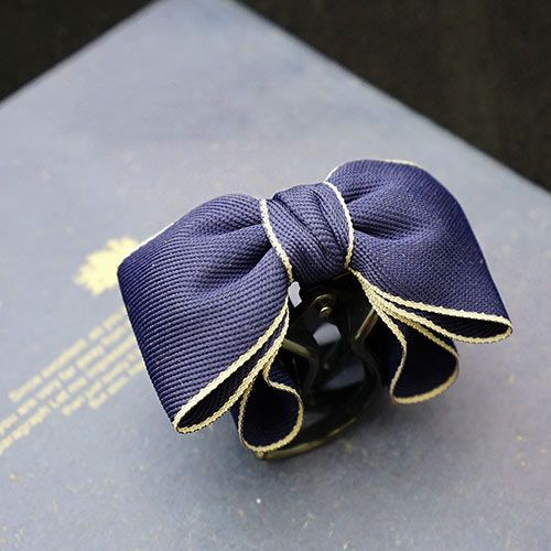 Cotton Silver Edge Ribbon Tiny Bow Hair Claw For Girls