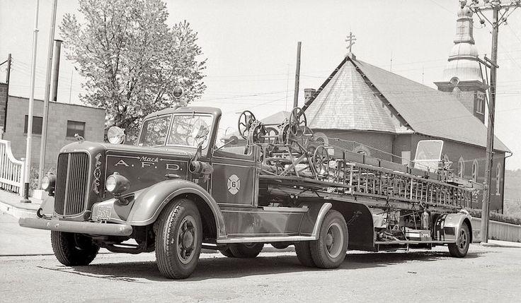 1940s photo Negative FIRE Dept Mack TRUCK Engine Allentown Hibernia PA Ladder Co
