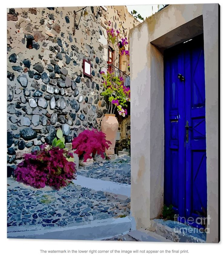 Santorini is a maze of winding steps, doorways, cafes, tourists and bougainvilleas. And of course spectacular views in all directions. The climate there seems to be perfect for those bougainvilleas because they flourish, even in narrow pots. I love that traditional deep blue doorway, it fits the scene.
