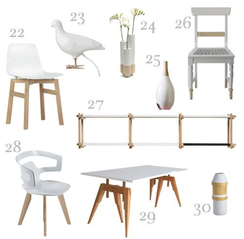 Get the Look White + Wood Furniture and Accessories -  style carrot