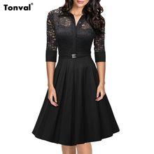 Tonval 2016 mujeres atan Rockabilly vestido de fiesta de noche de cosecha Sexy vestido del oscilación 1950 s da vuelta abajo elegantes vestidos negros(China (Mainland))