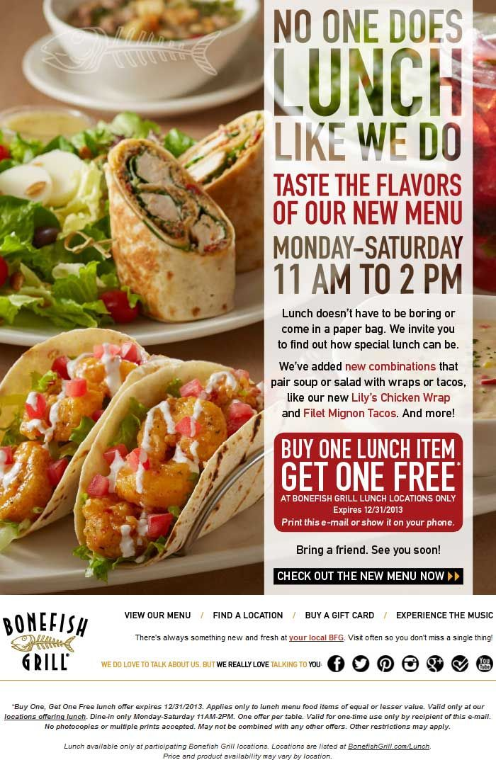Pinned November 20th: Second #lunch item free at Bonefish Grill #coupon via The Coupons App
