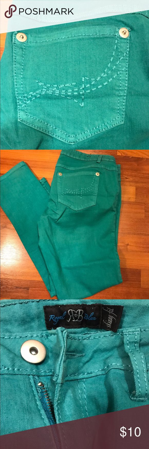 Skinny fit stretch turquoise jeans Skinny fit stretch turquoise jeans. Great condition Jeans Skinny