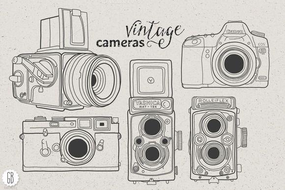 Vintage cameras hand drawn II by GrafikBoutique on Creative Market