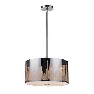 ELK Lighting 31038-3 Skyline 3 Light Pendant In Polished Stainless Steel