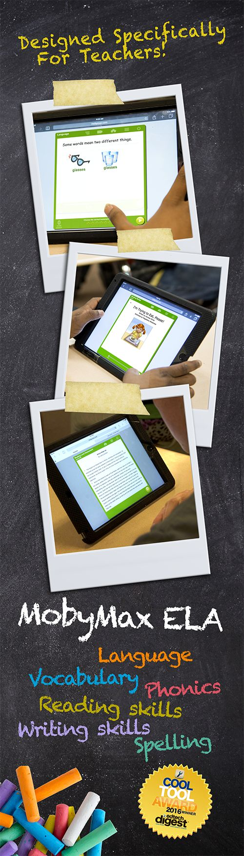 MobyMax ELA Curriculum for K-8 Schools - Free Touch Curriculum™ builds & reinforces language, vocabulary, phonics, reading, writing, and spelling skills. MobyMax's adaptive curriculum lets gifted students progress as quickly as they like while ensuring that remedial students get the extra instruction they need.  MobyMax includes all K-8 subjects and is specifically designed for teachers.