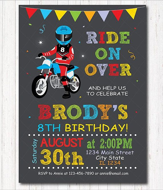 Motocross birthday Invitation Dirt Bike Invitation Motocross