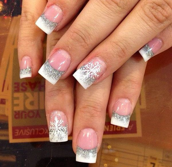 White and Silver Nail Art with Snowflake.