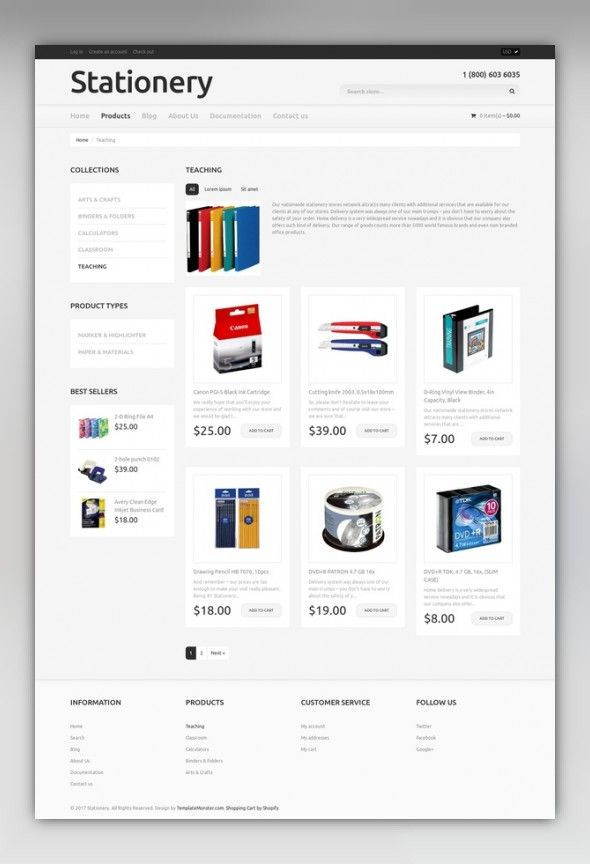 Stationery Responsive Shopify Theme Stationery templates, Template