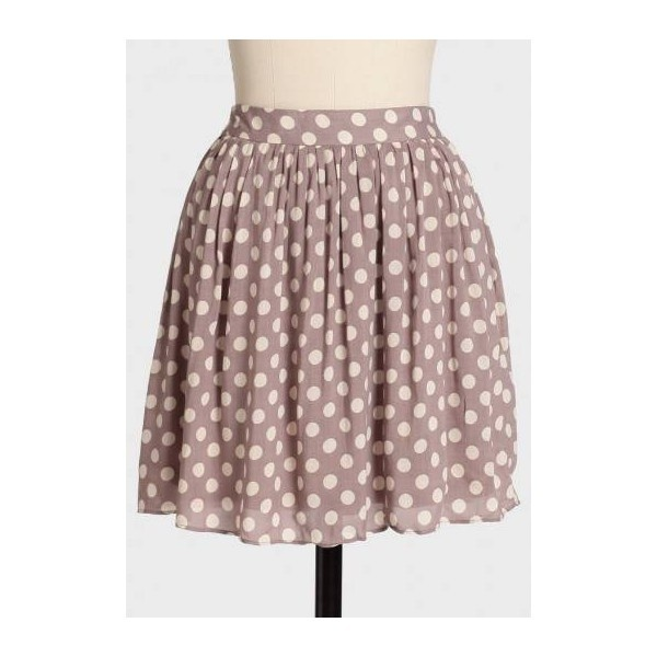 Ruche Coffee Date Polka Dot Skirt ❤ liked on Polyvore