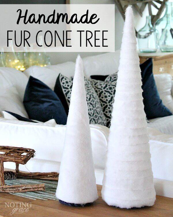Budget friendly Christmas Decor: try this easy Handmade Fur Cone Tree!