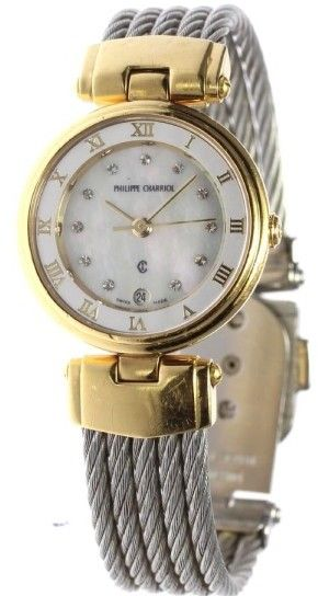 Philippe Charriol Date CELTIC Stainless Steel / Gold Plated 25 mm Womens Watch